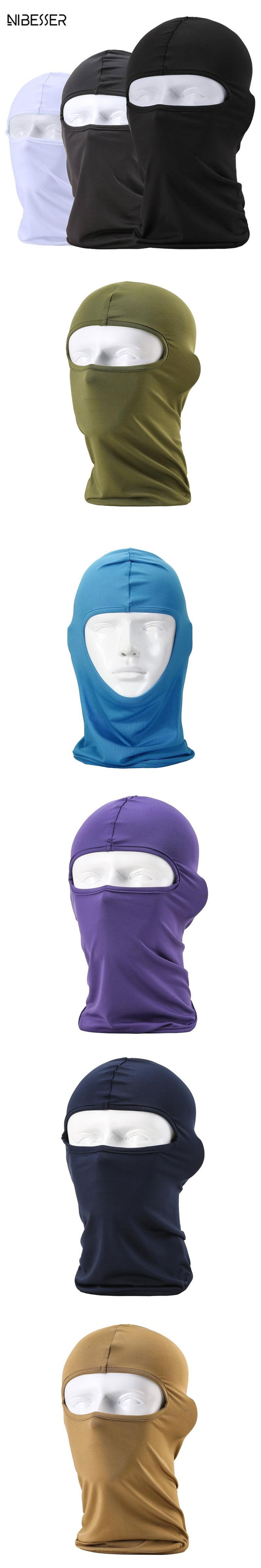 NIBESSER Mask Skullies Men Outdoor Full Face Mask Headwear Protector Lycra Balaclava Masks Motocross Bike Night Protect Mask