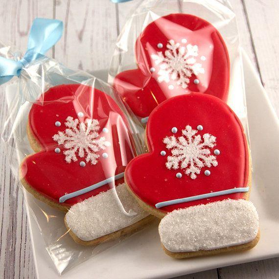 Mitten Christmas Cookies, Holiday Cookies  - 12 Decorated Sugar Cookies