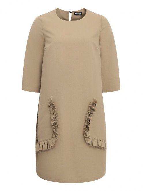 Платье из льна и хлопка с накладными карманами - Общий вид