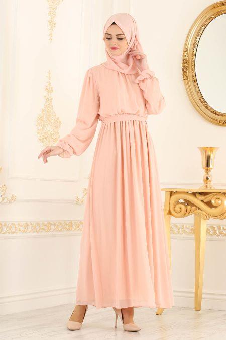 4641ff9dd0084 Nayla Collection - Beli Lastikli Somon Tesettür Elbise 4147SMN #elbise # tesettur #tesettürisland
