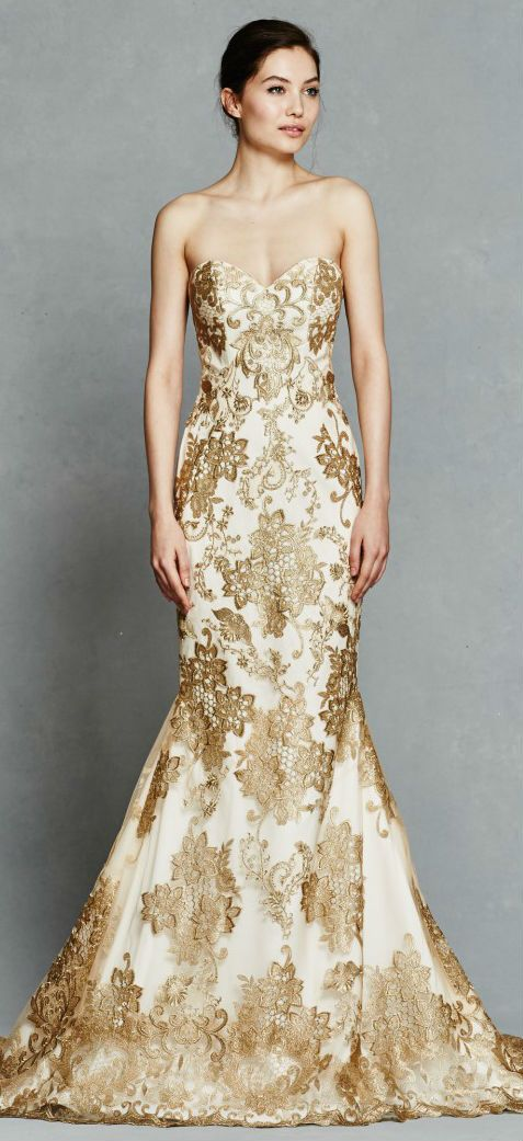 Gold wedding dress ideas