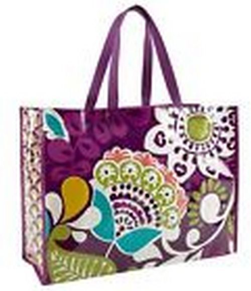 """Be colorful (and green) when you use your reusable Market Tote. Reduces paper and plastic bag waste. 19"""" W x 14"""" H x 7 ½"""" D with 9 ½"""" strap drop. Care Tips Wipe Clean. Special consideration will be made if the problem with your order was a mistake on our part. 
