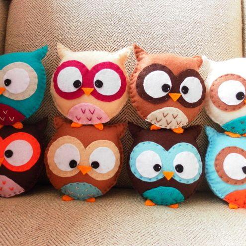 Owls in felt