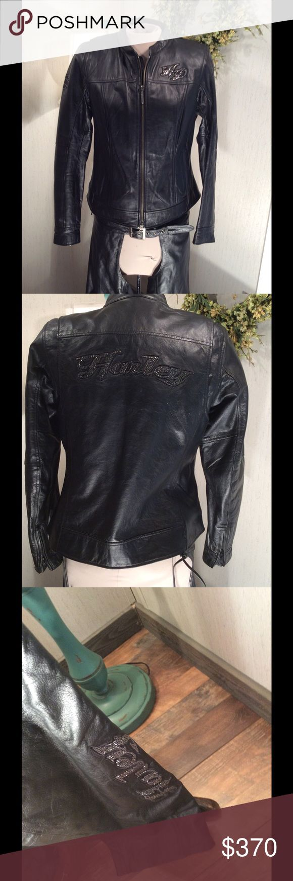 Harley Davidson Bling leather Jacket and Chaps ONE HOUR SALE!!!!!Super hot Harley Davidson Bling leather jacket and matching chaps in buttery soft black leather and an awesome silk silver lining. The jacket was worn once and the chaps have never been worn. This is the perfect set for those classy biker chicks!  Still wrapped in the hang bag from the Harley store!  Jacket size medium and the chaps are a large. Harley Davidson Jackets & Coats