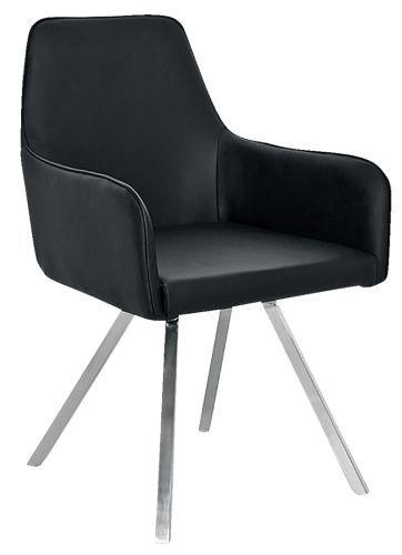Sessel Speisezimmer mit Kunstlederbezug in Schwarz Gestell aus rostfreiem Edelstahl 55x87x59 cm kika.at