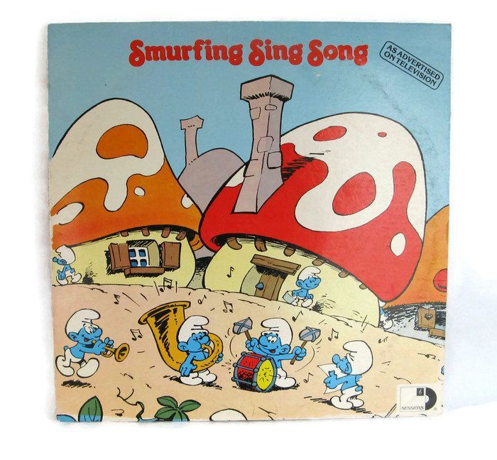 """the latest addition to my #etsy shop: children's record vinyl LP, """"Smurfing Sing Song"""" http://etsy.me/2nfqZt1 #music #epsteam #kidsrecord #lprecord #33rpmrecord #vinyllp #smurfrecord #smurfingsingsong #smurfland"""