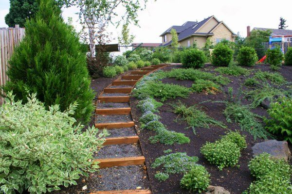 Side yard landscaping ideas steep hillside sloped lot for Steep hillside house plans