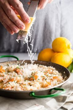 Creamy lemon risotto with shrimp and fresh Parmesan cheese