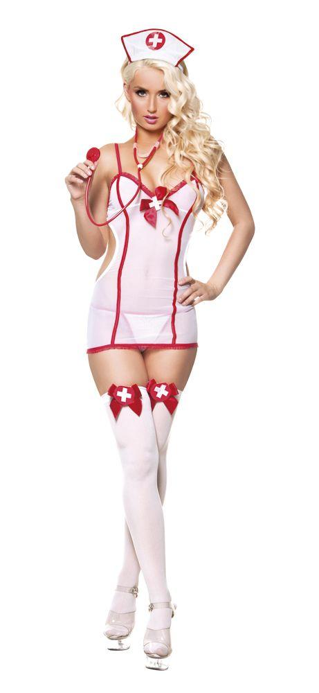 Pikkutuhma sairaanhoitaja. Pikkutuhma sairaanhoitaja saa taatusti sydämen hakkaamaan monilla ihan terveilläkin tyypeillä. Valkoinen läpikuultava mekko on koristeltu punaisin yksityiskohdin ja mekon alle puettavat stringit noudattavat samaa värimaailmaa.