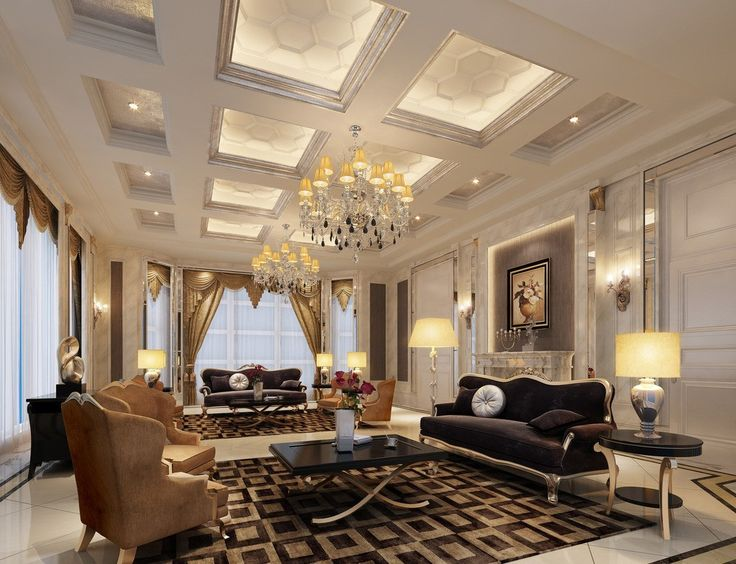 luxurious interior design living room with super luxury decoration with amazing lamps