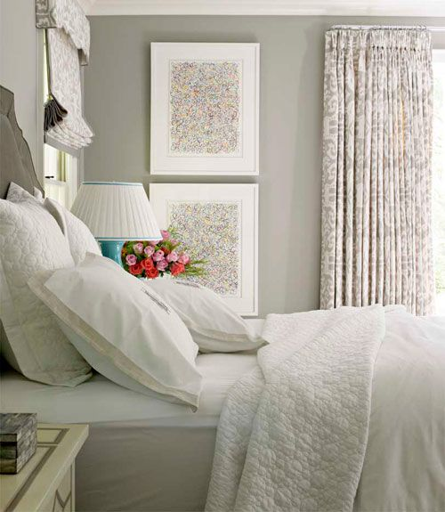 Gray Bedroom - Color Decorating Idea - House Beautiful. Paint is Farrow & Ball's Drag paper.