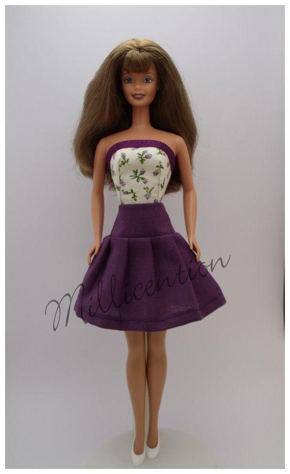 Purple and ecru Barbie doll top & pleated skirt