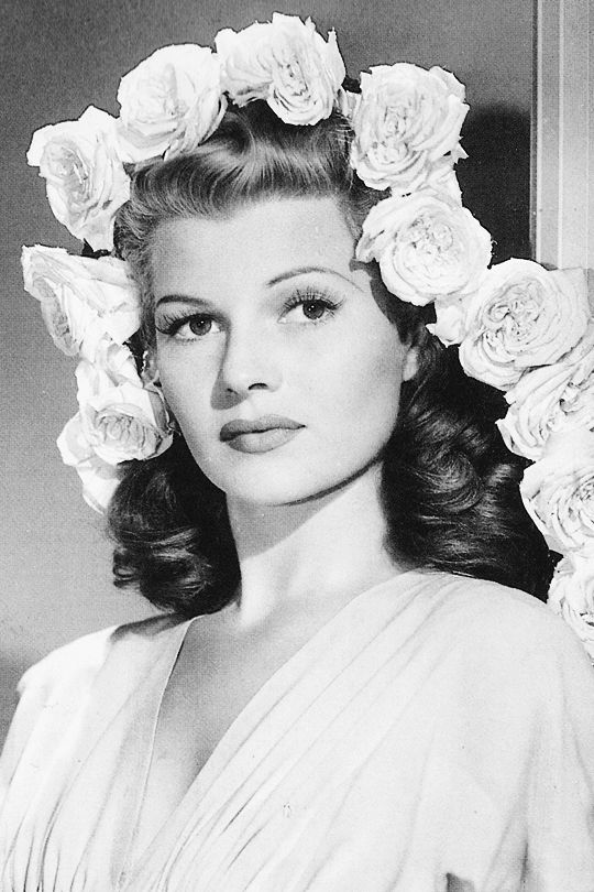 "theritahaywortharchive: """"Rita Hayworth, 1940s "" "" flowers in her hair original flower crown"