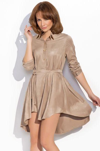 Sukienka z kołnierzykiem z imitacji zamszu NU19