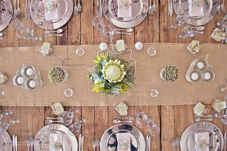 Erna Loock Photography: { Forever } Hanri + Jacques Part One Rustic Romance Wedding Rustic wooden table decor White Protea Centre Piece