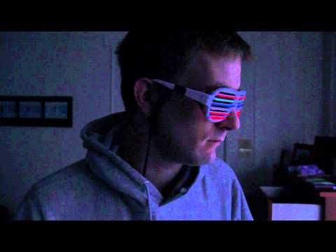 Kanye West glasses with el wire that react to sound. . .