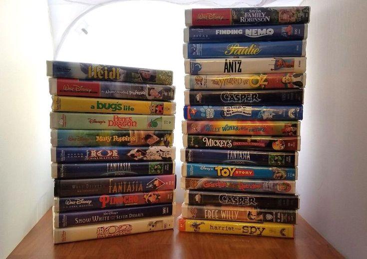 Huge LOT Disney vhs tapes lot 26 Kids Fantasia Cartoon Rare Old Movies L@@K