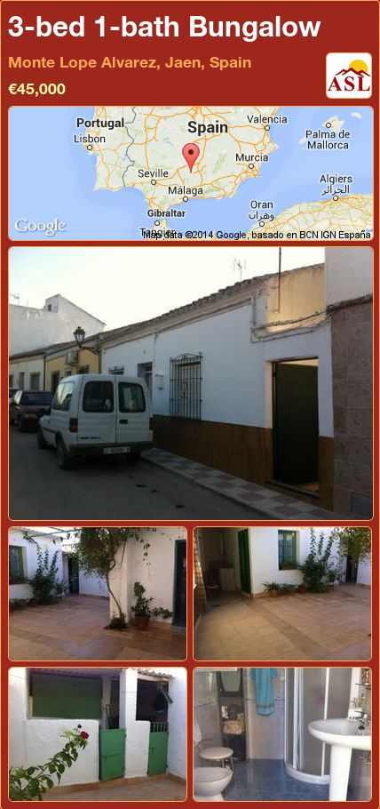 3-bed 1-bath Bungalow in Monte Lope Alvarez, Jaen, Spain ►€45,000 #PropertyForSaleInSpain