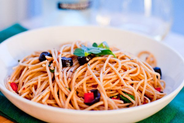 Spicy Olive Oil Spaghetti- for when I am home alone, it is easy to make a single serving of this.