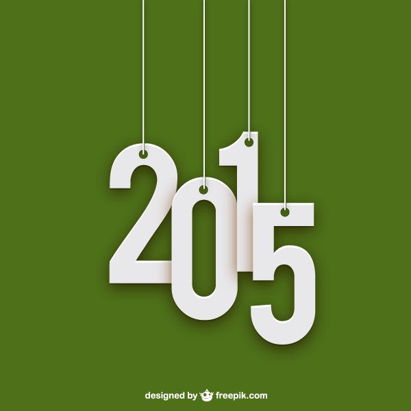 Vector Hanging Text 2015 on Green Background
