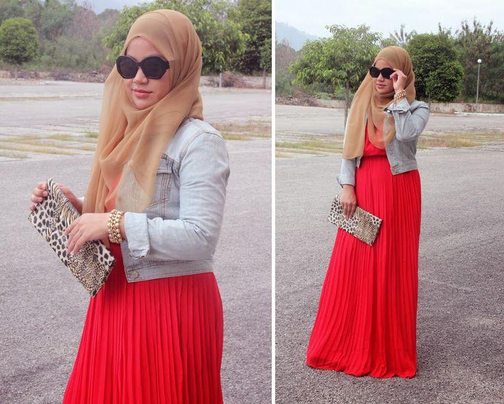 Image result for denim jacket hijab fashion