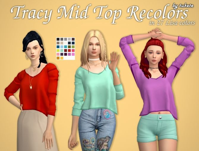 Tracy Mid Top Recolors at Tukete • Sims 4 Updates
