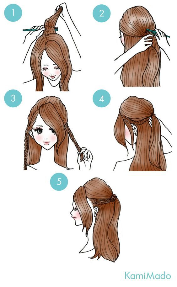 half up with braids