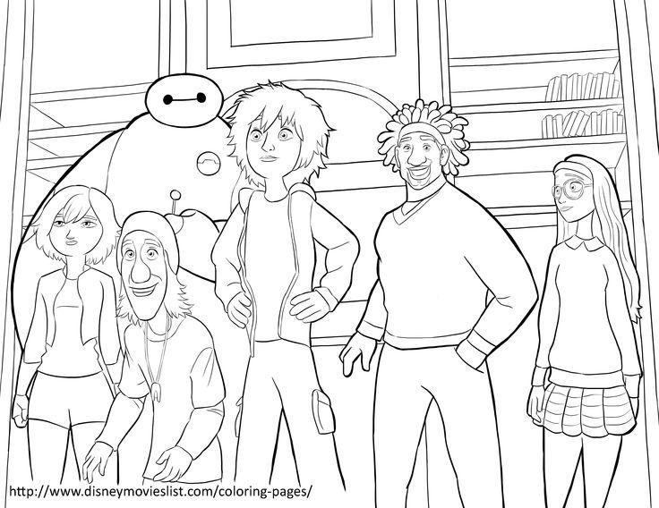 A Printable Disney Coloring Page Sheet Titled Big Hero 6 Team