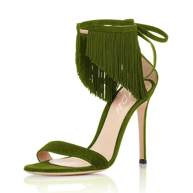 YDN Women Heels Sandals Open Toe Stilettos Ankle Strap Shoes with Fringe * You can get more details by clicking on the image.