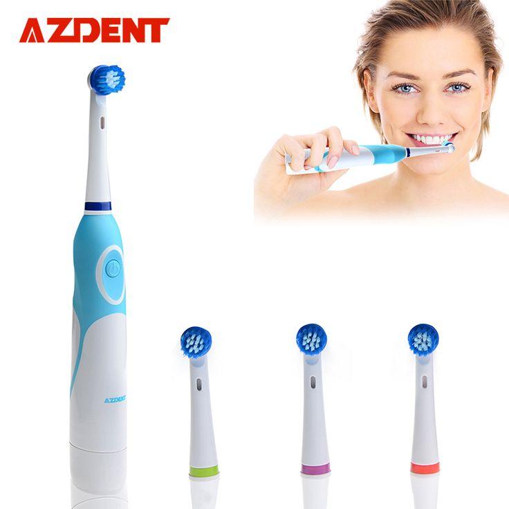 AZDENT Moda Batería Operado cepillo de Dientes Eléctrico con 4 Cabezas del Cepillo Oral Higiene Productos Sin Cepillo de Dientes Recargable