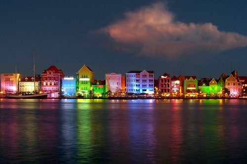 Willemstad at night, Curacao