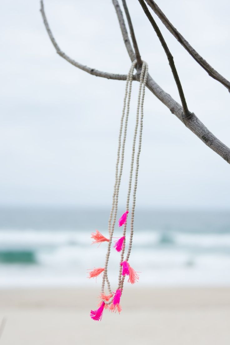 Cable Beach Tassel Necklace. S A L T | W A T E R The cure for anything is salt water: sweat, tears or the sea. Cable Beach of Western Australia features pure white beaches as far as the eye can see, and our stunning 'Cable Beach' accessories match the beautiful sand dunes. On trend neon tassels add something special to your outfit, and all items are designed to layer and stack to add extra oomph. What makes these gorgeous Ruby & Lilli necklaces special is the additional length! #RubyAndLilli