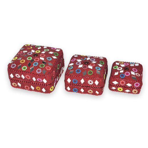 Indian Gift Home Decor Red Square Shape Jewellery Boxes Handmade Lac Beaded Material Table Top Vintage Style Decorative Box Set of 3 Pcs Antique Pill Box DakshCraft http://www.amazon.co.uk/dp/B00ASIRUGG/ref=cm_sw_r_pi_dp_dGLfwb13QRJ03