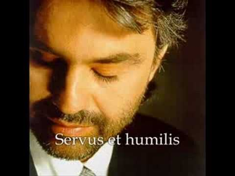 Andrea Bocelli: Panis Angelicus.  Very beautiful version with Latin text of the lyrics.