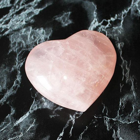 Rose Quartz Heart Carved Crystal Heart Puffy Heart