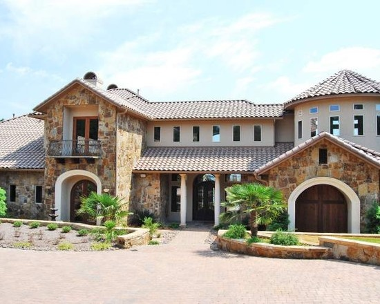 love the two-tone stone: Tuscan Style Home, Lakes Travis, Mediterranean House, Rob Sander, Mediterranean Style Home, Custom Homeremodel, Home Design, Sander Design, Mediterranean Exterior