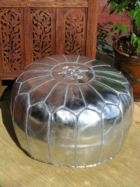 The Moroccan silver poufee adds a romantic touch to your room find our selection of Moroccan pouffes online http://www.maroque.co.uk/catalog.aspx?p=00684