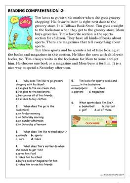 Reading Comprehension for beginner and Elementary Students 2 - ESL ...