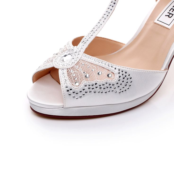 Burgundy satin Open side swirled diamante brooch wedding shoes WQhjw4oUS