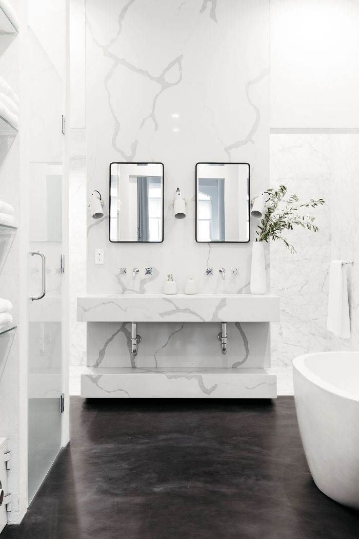 this jet black marble bathroom embodies drama with a capital d in rh pinterest com