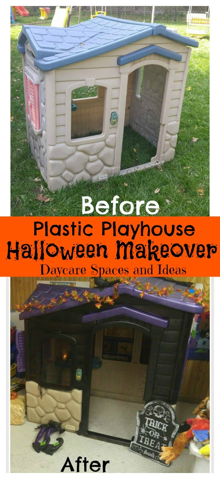 Plastic Playhouse Halloween Makeover Fun Halloween Decor Haunted House For Kids Halloween Haunted Houses Haunted house ideas for backyard