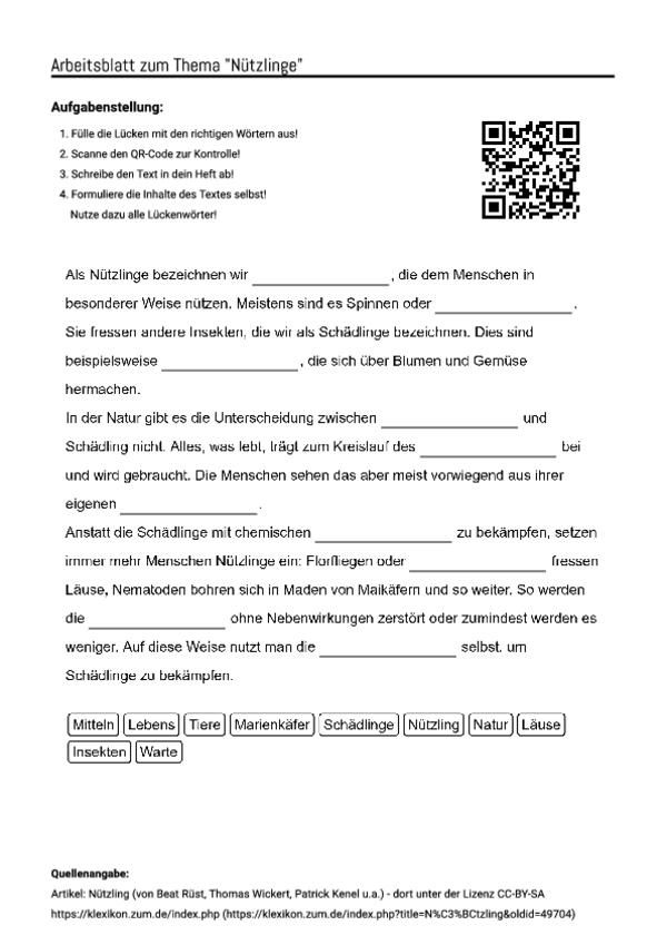 Arbeitsblatt Mit Luckentext Zum Thema Nutzlinge Unterricht