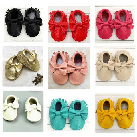 Bow Knot Genuine Leather Baby Girl Moccasins