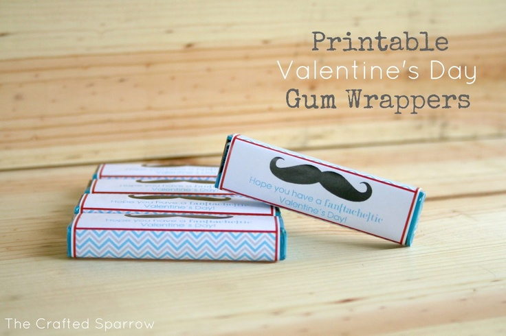 Printable Valentine's Day Gum Wrappers | Valentines Day ...