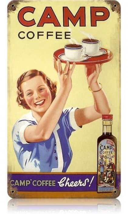 Vintage and Retro Wall Decor - JackandFriends.com - Vintage Camp Coffee Metal Sign, $35.97 (http://www.jackandfriends.com/vintage-camp-coffee-metal-sign/)