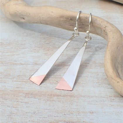 Geometric Silver and Copper Earrings.