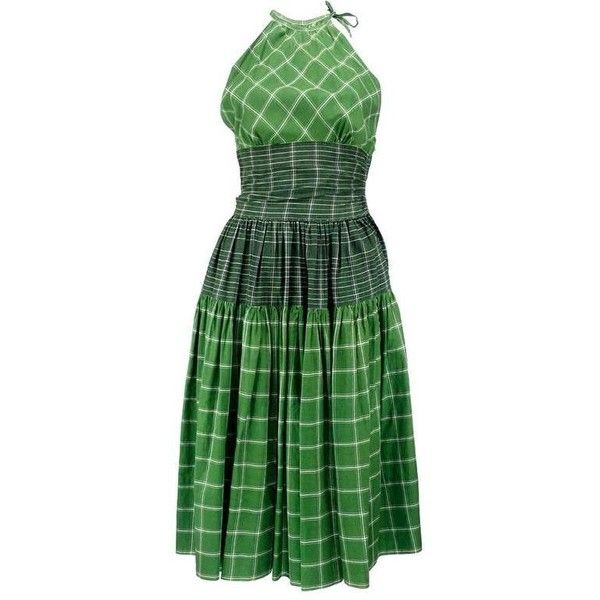 Preowned 50s Bonnie Cashin Green Plaid Summer Dress ($695) ❤ liked on Polyvore featuring dresses, day dresses, green, summer dresses, green summer dress, sexy green dress, zip up dress and day summer dresses