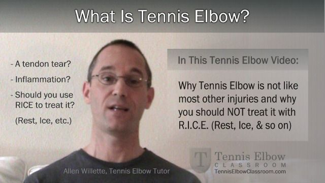 Tennis Elbow is usually not a sudden, 'Acute Injury' – like a cut, tear, sprain, strain or fracture, which you would use the RICE protocol for. Instead, it's usually a slow, gradual, chronic kind of injury. (Like hardening of the arteries.)  Why does it matter? Because the difference between an acute injury and a chronic injury is night and day.[Article]