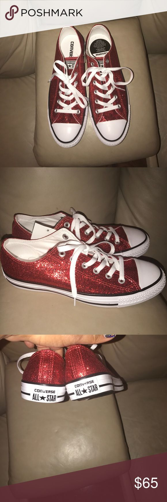 NWT Chuck Taylor's Size woman's 10 SUPER CUTE WOMAN's Size 10 Red Glitter Converse Chuck Taylor's men's size 8 Converse Shoes Sneakers