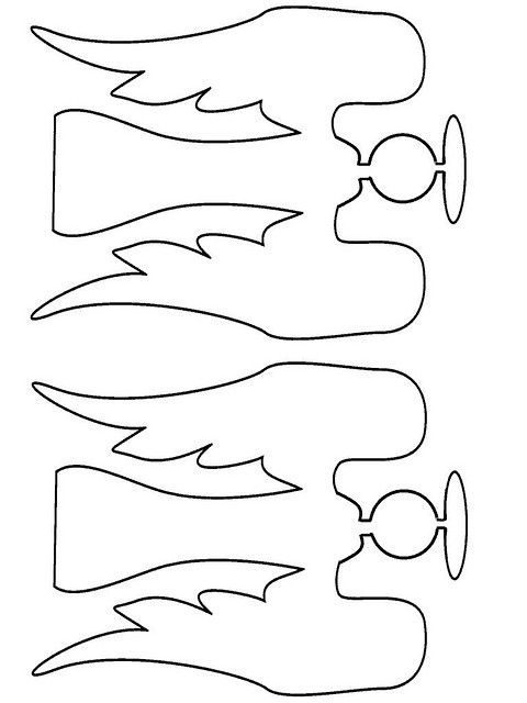 angel template - make into a folded 'banner' joining tips of wings and side edge